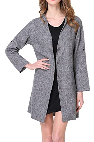 Las Mujeres Pierden Plus Size Long Sleeve Open Front Trenchcoats Outwear