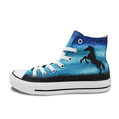 1c54abff1b448a Personalized Shoes Horse Night Sky Hand Painted Men Women High Top Canvas  Sneakers  Amazon.co.uk  Shoes   Bags