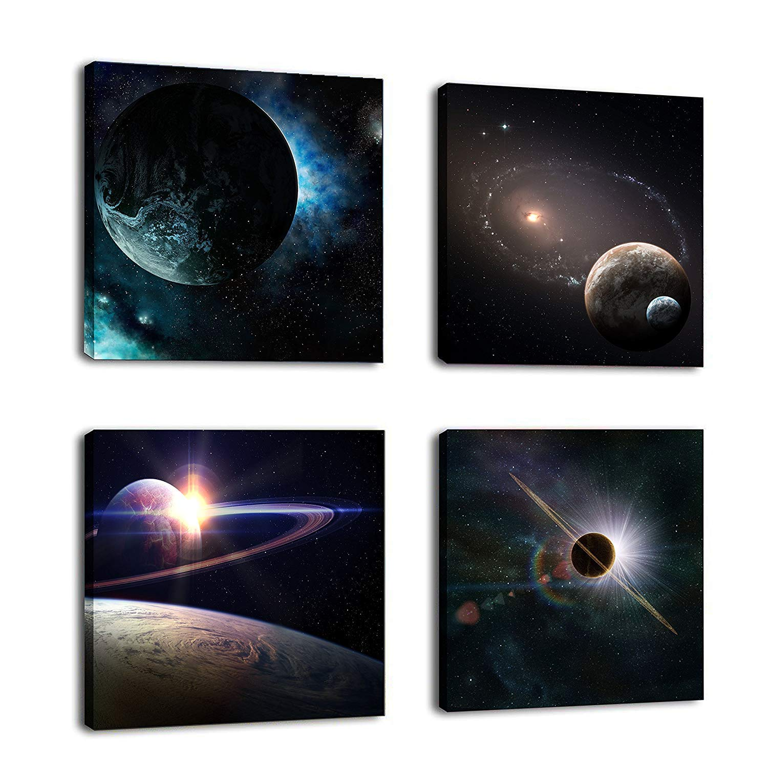 CUFUN Art - Vast Starry Sky Galaxy Painting Canvas Wall Art for Home Decor Ready to Hang Pictures (30 x 30cm x 3pcs)