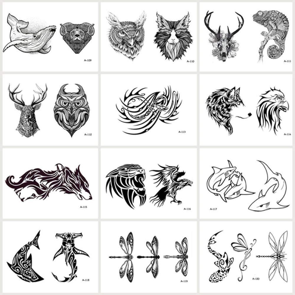 Tatuajes Temporales Dorados 12 Unids/Lote Lobo Tiburón Tatuaje ...