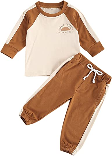 Toddler Baby Boy//Girl Long Sleeve Pajama Clothes Striped Tops Elastic Waist Drawstring Pants 2Pcs Sleepwear Outfit Set