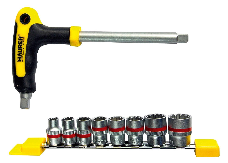 Maurer 2323475 Juego de Llaves Vaso + Mango T 1/4', 9 Piezas, Gris A Forged Tool SA