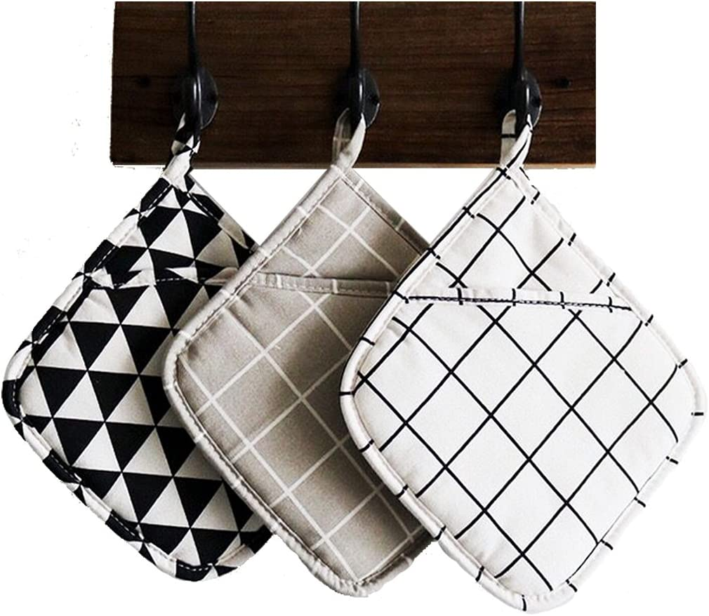 Cotton Pot Holders , Set of 3 Large Cloth Pot Holders , Oven Mitts Set , Machine Washable and Durable Heat Resistant Pocket Mitts for Kitchen (Square , 8.5''): Home & Kitchen