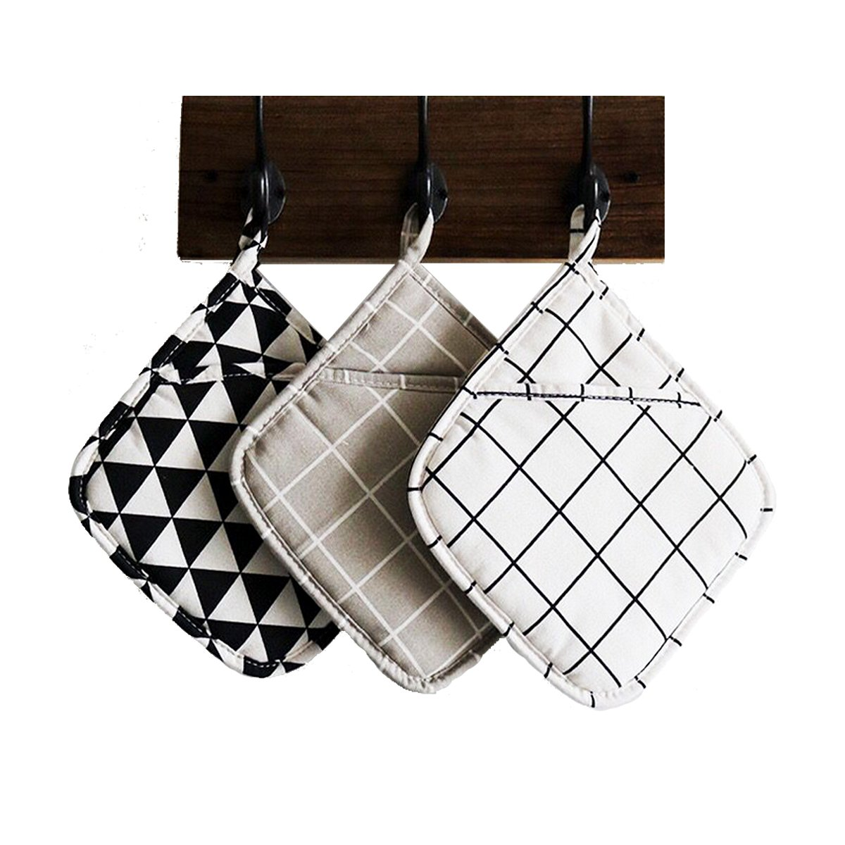 Cotton Pot Holders , Set of 3 Large Cloth Pot Holders , Oven Mitts Set , Machine Washable and Durable Heat Resistant Pocket Mitts for Kitchen (Square , 8.5'')