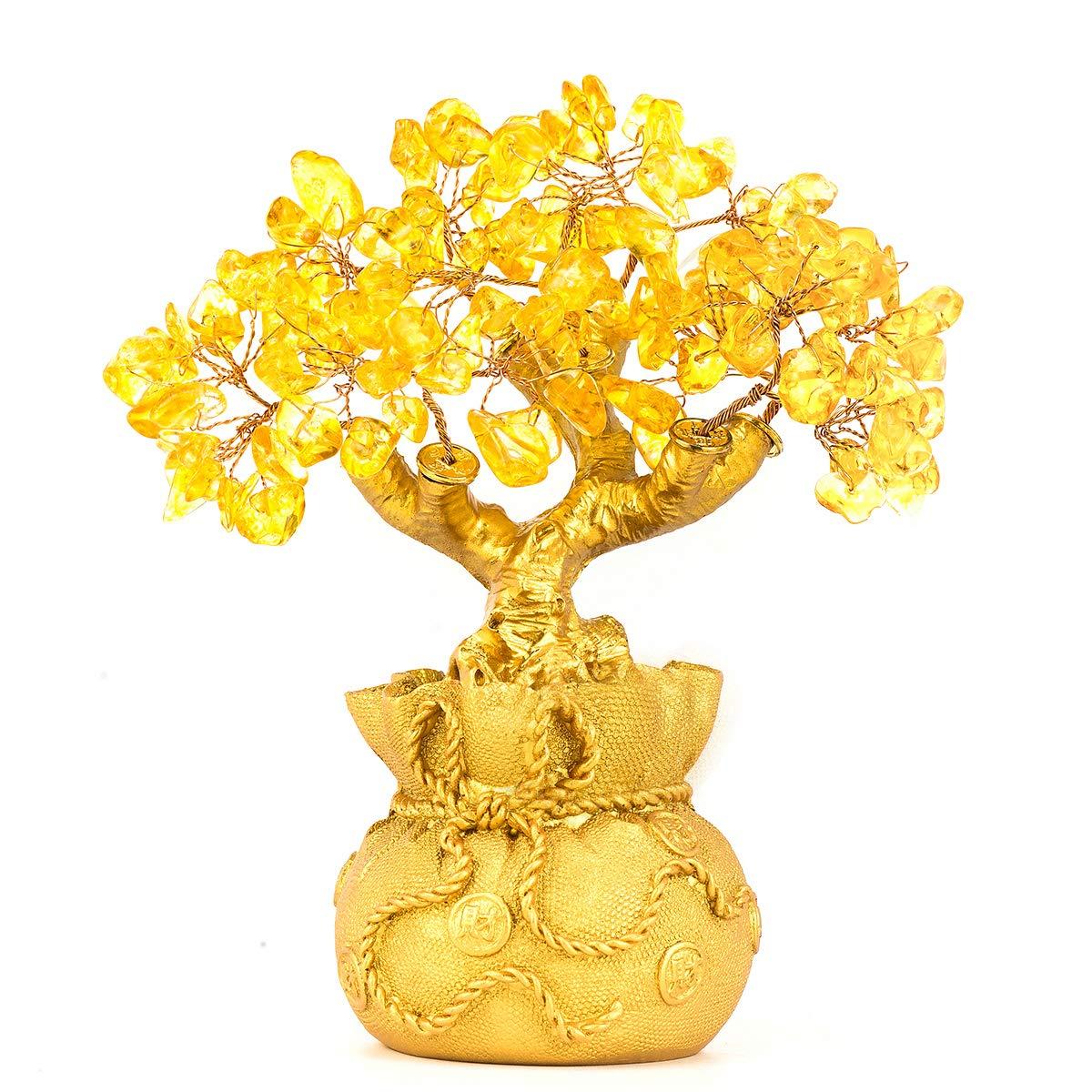 BWINKA Feng Shui Naturel Citrine Gem Stone Money Tree Office Bureau de la table à domicile pour la chance de richesse, meilleur cadeau