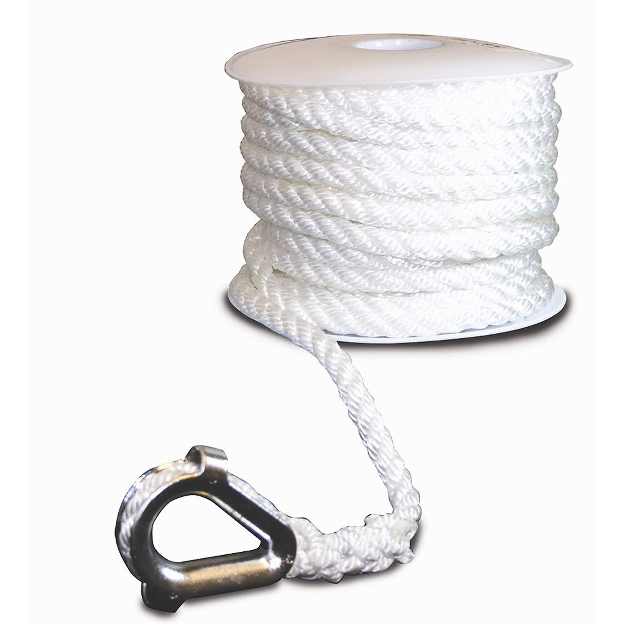 Aromzen Three-Strand Twisted Nylon Anchor Line with Thimble End, 1/2'' x 150', White by Aromzen
