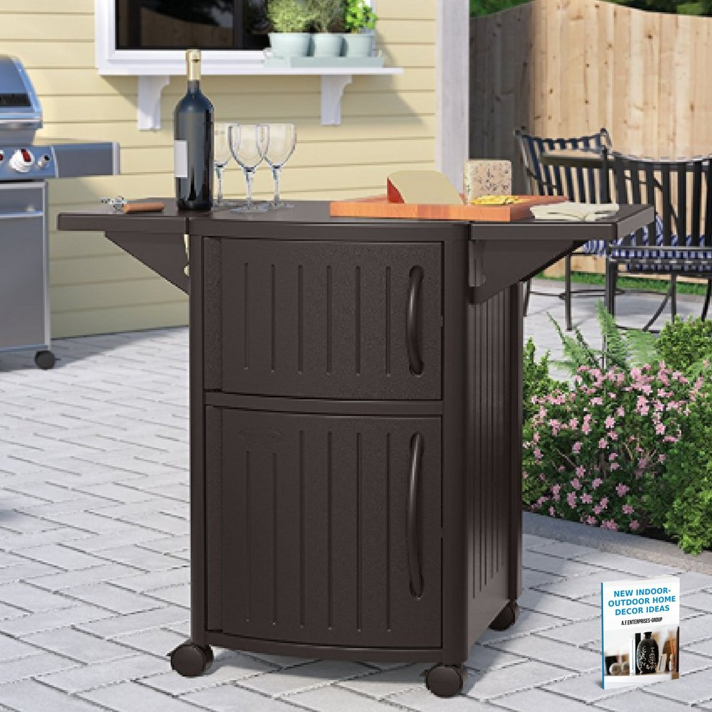 Mobile Cart Table, Preparation Unit & Serving Table For BBQ & Outdoor Entertainment Activities, Storage & BBQ Organizer, Large Storage Capacity & eBook Indoor-Outdoor Home Décor