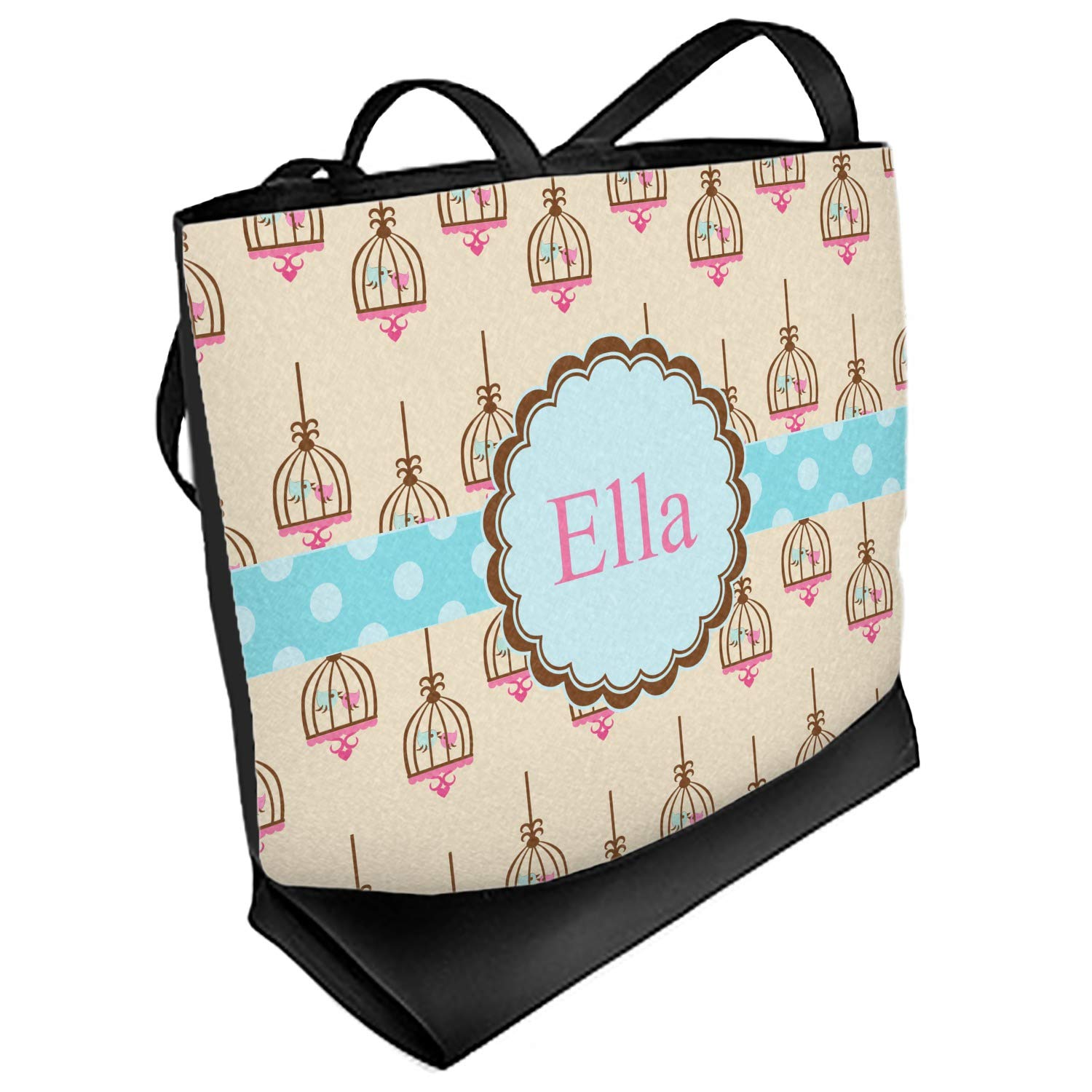 Front Personalized Regular Kissing Birds Beach Tote Bag