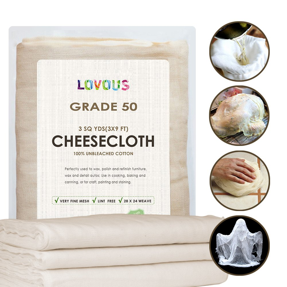100% Unbleached Cheesecloth Ultra-Fine Grade 50 Butter Muslin Perfect for Cooking, Nut milk Filter, Cheese Making, Broth Strainer, Muslin Bag 2 Sq Yards/18 SQ Feet LOVOUS LOVOUS20170303YT2
