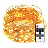 LED String Lights 33ft with 100 LEDs Dimmable Waterproof for Bedroom, Patio, Garden, Party, Wedding Decoration (Copper Wire, Warm White)