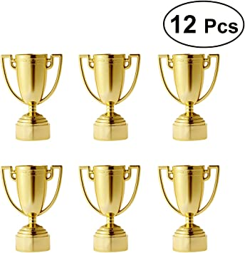 Toyvian Mini Trofeos de Oro para Niños Premio de Oro para Niños Ganadores Trofeo de Niños Rellenos de Bolsa 12 Piezas: Amazon.es: Juguetes y juegos