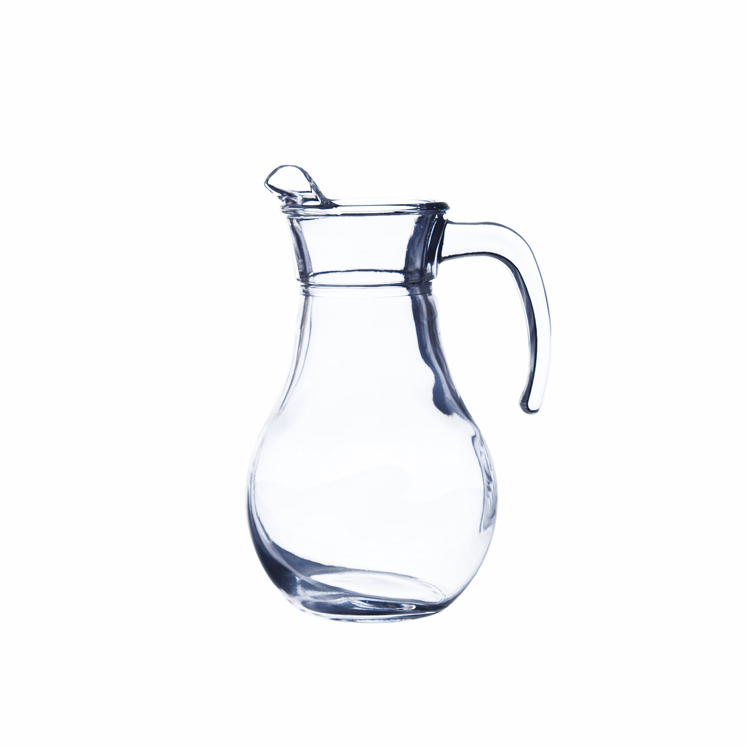 BISTRO Glass Pitcher with Lid, Hot/Cold Water Jug, Juice and Iced Tea Beverage Carafe, 1.05 Quarts (1000 ml), Restaurant&Hotel Quality