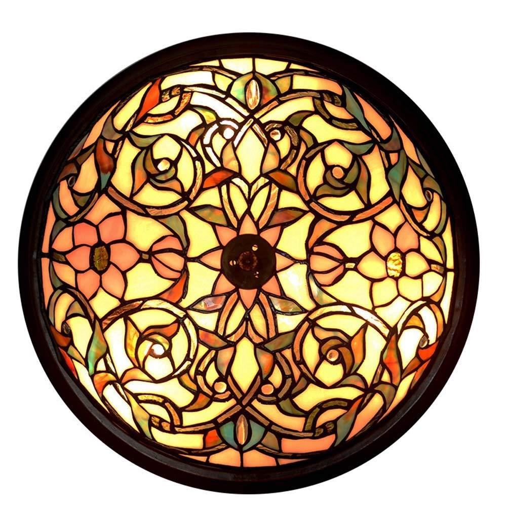 LEDティファニースタイルシーリングライト、ステンドグラスラウンド天井ランプ、多色アメリカンレトロデコレーションフラッシュマウントシーリングライト器具寝室/リビングルーム/廊下 (Color : B) B07TDMHG3L B
