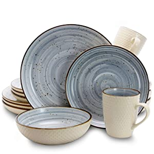 Elama EL-MELLOWBLUE Mellow 16-Piece Dinnerware Set in Powder Blue, 16pc