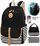 SCIONE School Backpacks for Women Teen Girls with USB Charging Port and Backpack Rain Cover Lightweight Canvas Stripe…