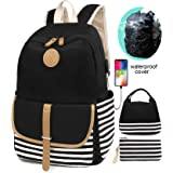 SCIONE School Backpacks for Women Teen Girls with USB Charging Port and Backpack Rain Cover Lightweight Canvas Stripe Backpac