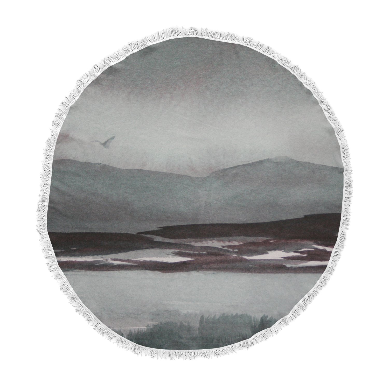 Kess InHouse Cyndi Steen Landscape Gray Watercolor Painting Round Beach Towel Blanket