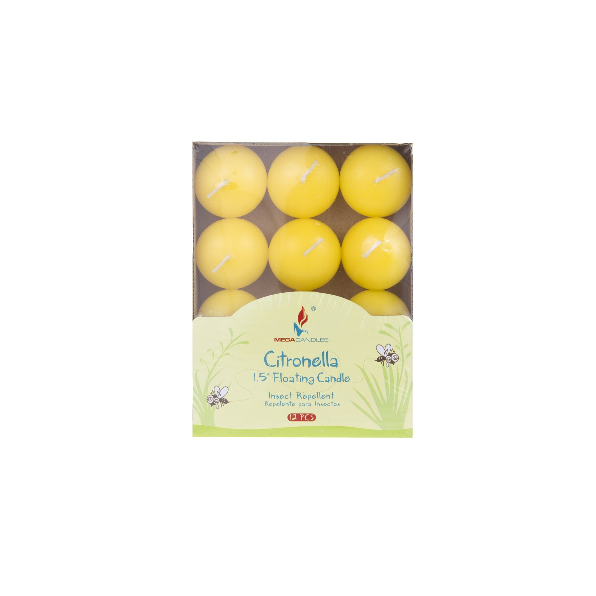 Mega Candles 24 pcs Citronella Floating Disc Candle | Hand Poured Paraffin Wax Candles 1.5'' Diameter | Bug Repellent Candles For Indoor And Outdoor Use | Everyday Candles For Mosquitoes And Insects