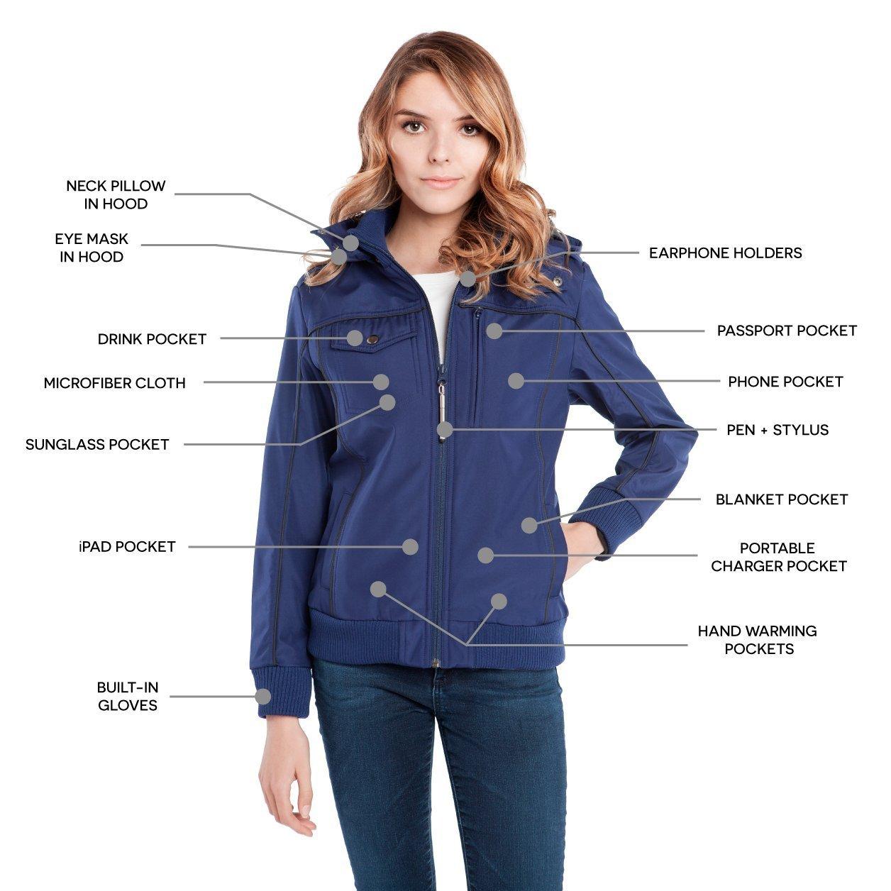 Baubax Travel Jacket - Bomber - Female - Blue - Large by Baubax (Image #4)