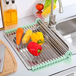 "17.7"" x 15.5"" Roll Up Foldable Dish Drying Rack, Tomorotec Rollable Dish Racks Multipurpose Anti-corrosion 304 Stainless Steel Over Sink Kitchen Drainer Rack for Cups Fruits Vegetables (Green)"
