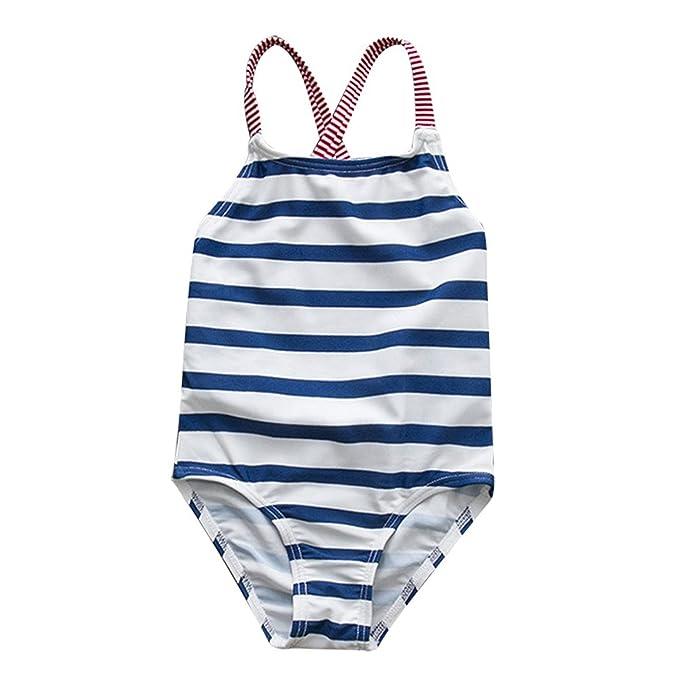 Amazon.com: Bebé niña traje de baño Kid chica rayas una ...