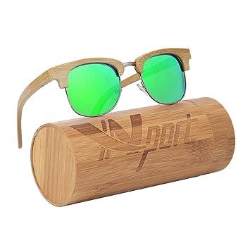 Ynport Crefreak bambú Gafas de Sol Flotante Hecho a Mano Medio Marco de Madera Ligero Gafas