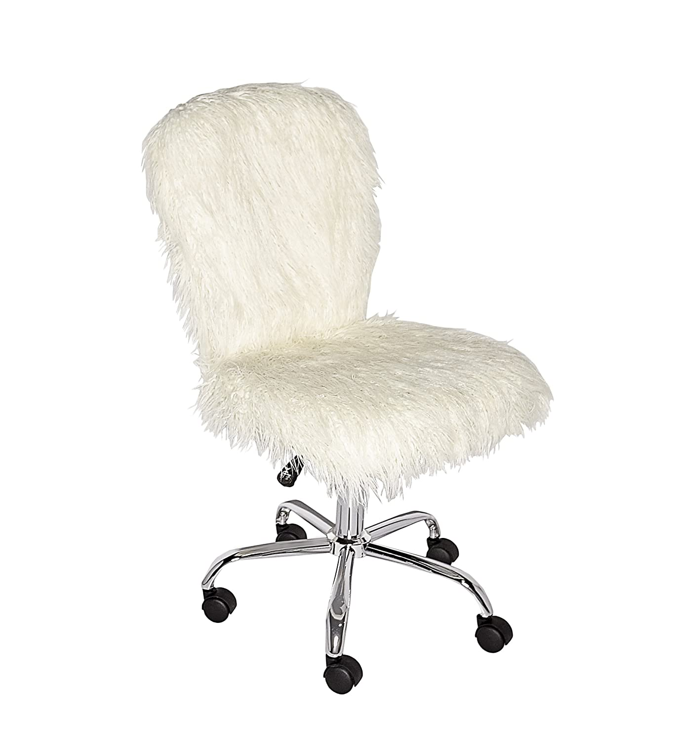 White Faux Fur Furry Armless Office Desk Chair Teen Kids