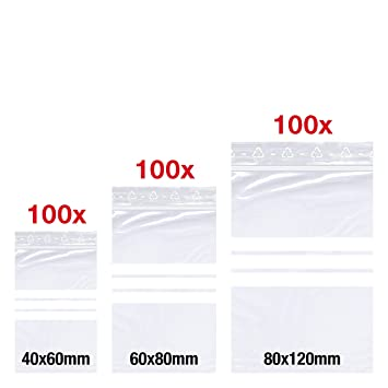Set de 300 bolsas con cierre a presión de 40 x 60 mm 60 x 80 mm 80 x 120 mm 50 mμ de grosor con campo de rotulación LDPE transparente para congelación