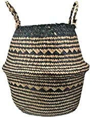Seagrass Plant Pot Belly Basket for Storage Natural Woven