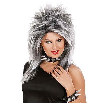 Elegante Mujer peluca Rock Star Tina en gris Rock Star peluca Disfraz Peluca mujer peluca Fasching