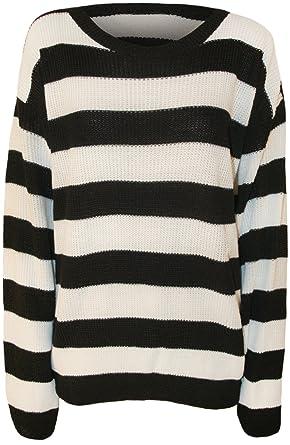 WearAll - Damen Gestreift Schwarzweiß Langarm Gestrickt Pullover Top -  Schwarz Weiß - 36-38 104a1d82f7