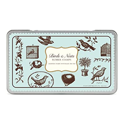 Cavallini Rubber Stamps Birds & Nests, Assorted with Ink Pad: Home & Kitchen
