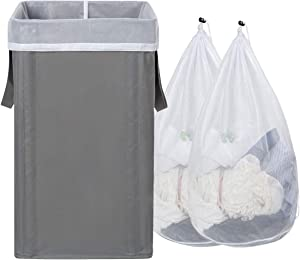 WOWLIVE Large Laundry Hamper Collapsible with 2 Removable Mesh Laundry Bags Tall Laundry Basket Foldable Dirty Clothes Hamper with 2 Handles Rectangular Washing Bin Dorm Room Storage(Grey 2)