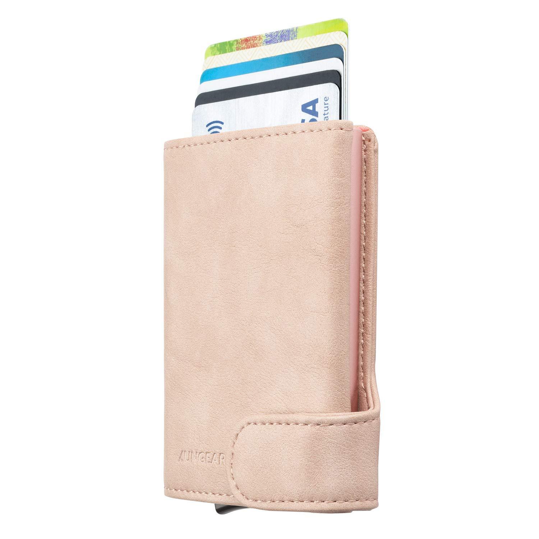 LUNGEAR Porte Cartes de Cr/édit RFID Blocage Mince Portefeuille Automatique Pop Up en Cuir pour Homme Convient 4-8 Cartes /& Billets Bleu