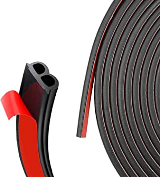 Engine Cover D-Shape Weather Stripping Rubber Seal soundproofing Hollow for Door Window Trunk 5 Feet