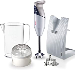 "Bamix – M150 ""SwissLine"" Immersion Hand Blender – 150W, 120V, 60Hz – The Original Hand Mixer, Blender, and Food Processor All-In-One – Swiss-Made – Includes 3 Stainless Steel Blades – Light Grey"