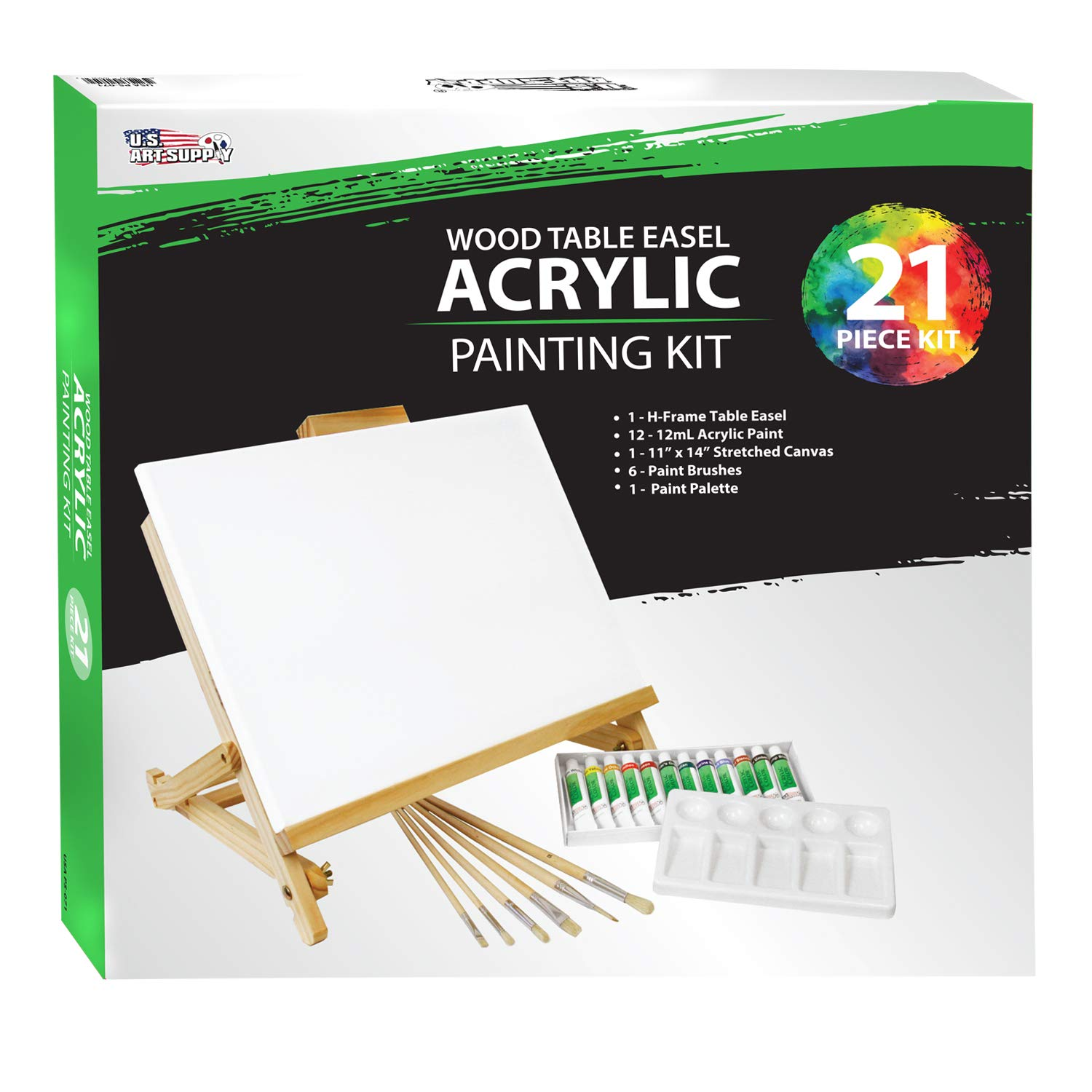 US Art Supply 21-Piece Acrylic Painting Table Easel Set with, 12-Tubes Acrylic Painting Colors, 11''x14'' Stretched Canvas, 6 Artist Brushes, Plastic Palette with 10 Wells by US Art Supply (Image #6)