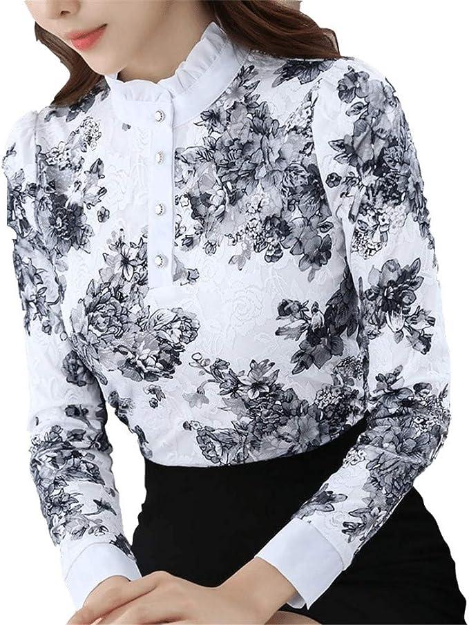 RBDSE Camisa Casual otoño de Cuello Alto de Encaje de Ganchillo Floral Blusas Mujeres para Mujer Tops de Encaje Blusas de Mujer Camisa de Manga Larga S-3Xl: Amazon.es: Deportes y aire libre