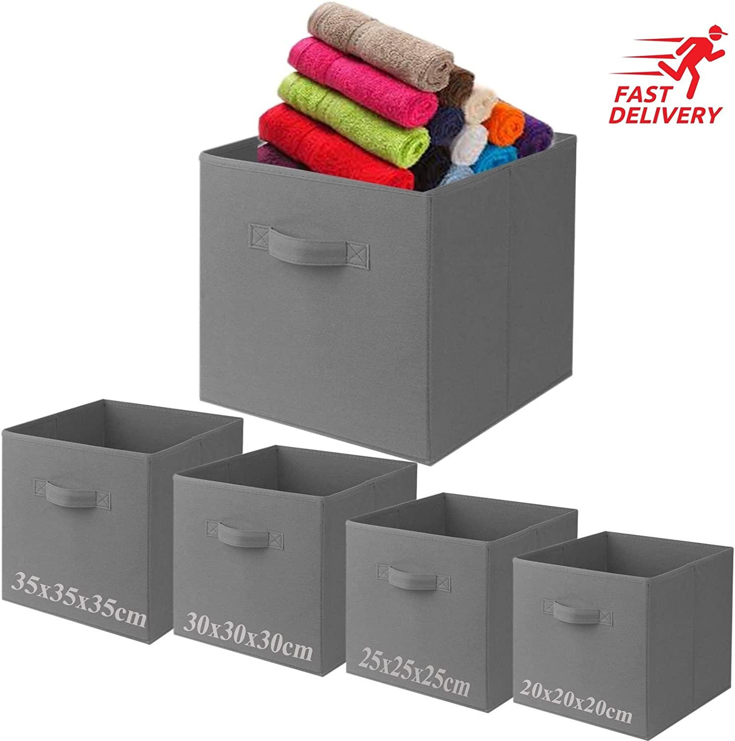 Fabric Foldable Square Canvas Storage Box Collapsible Folding Box Cubes Kids Toys Drawer (Small (20x20x20cm), Grey)