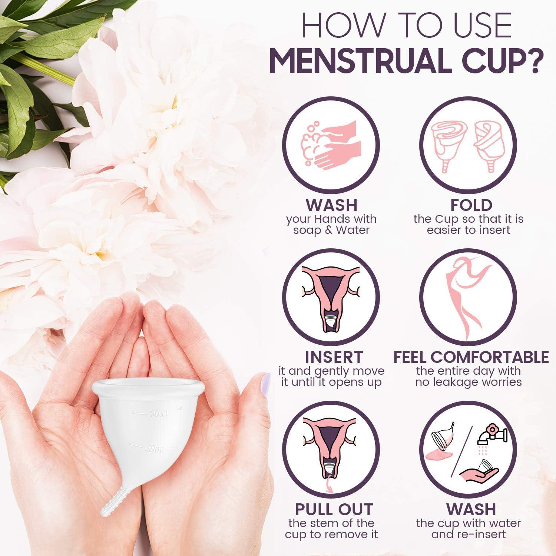 Copa Menstrual Talla L - Silicona de Grado Medicinal Alemana, Suave, Flexible y Reutilizable, Higiene Intima Femenina, Incluye Bolsa de Regalo, ...