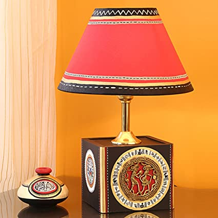 Buy exclusivelane handcrafted table lamp with warli dhokra art exclusivelane handcrafted table lamp with warli dhokra art home decorative night lamp for living room mozeypictures Image collections