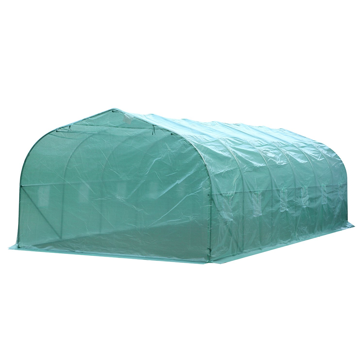 Outsunny 26'L x 10'W x 6.5'H Large Outdoor Heavy Duty Walk-In Greenhouse (Green)