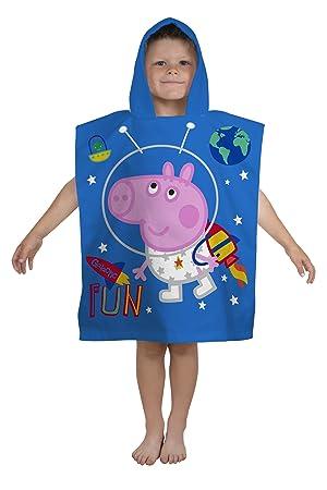 Peppa Pig George planetas con capucha Poncho - Piscina, playa, toalla de baño, algodón, azul, 115 x 50 x 2.9 cm: Amazon.es: Hogar