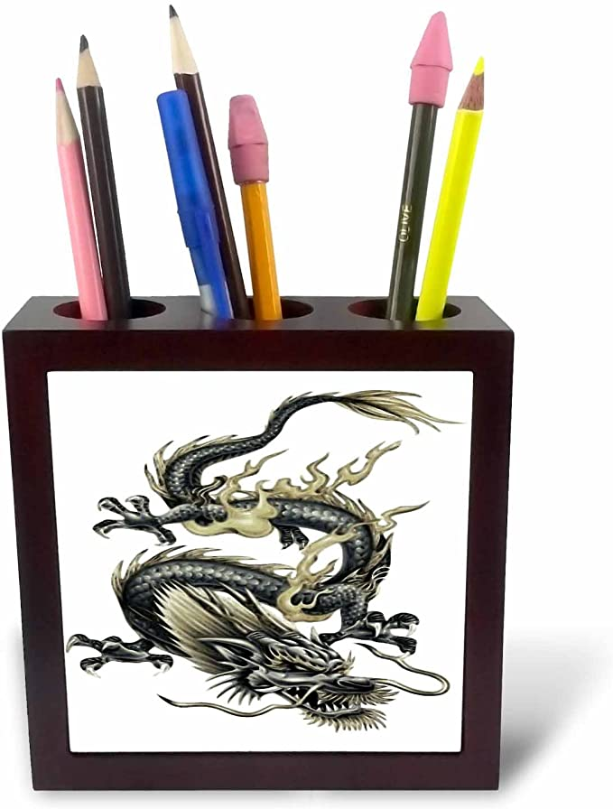 Chinese New Year Year of The Dragon Fathers Day Tile Pen Holder Chinese Dragon 3dRose ph/_63149/_1 Lucky Dragon Dragon 5-Inch Gift Idea