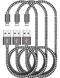 Cable Lightning - Zeuste Cable iPhone [3PACK 1.5M] de Nylon Trenzado para iPhone X/8/8Plus/ 7 7Plus SE 6s 6 Plus 5s 5c 5 se, iPad Pro Air 2, iPad mini 4 3 2, iPod touch 5th gen / 6th gen / Nano 7th gen, Gris Cable iPhone (Gris)