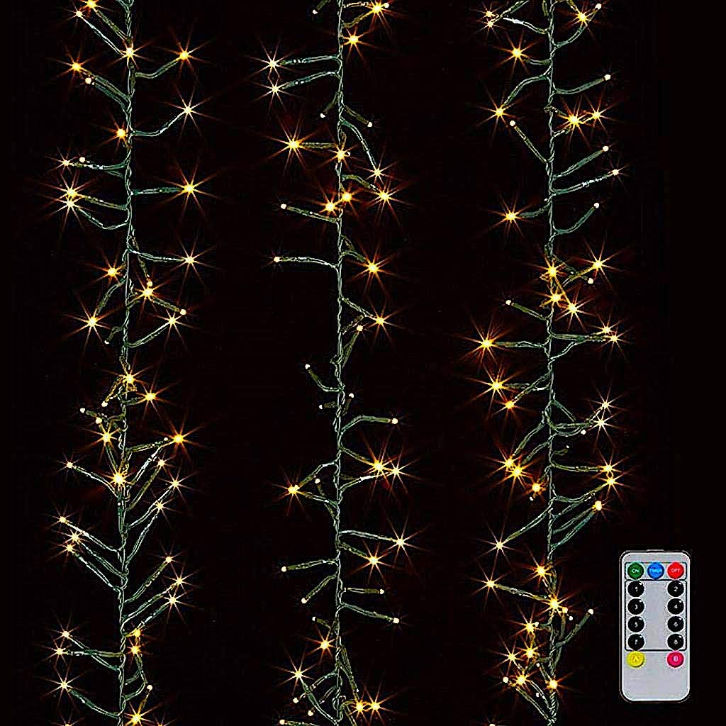 Raz Christmas Cluster Lights 20 Foot Garland with 600 Warm White Lights on Green Wire with Remote Control Exclusive Twinkle Function
