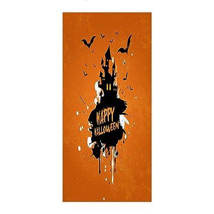 ezon-ch moderno happy Halloween bate de castillo Doodle naranja toalla de mano baño toallas