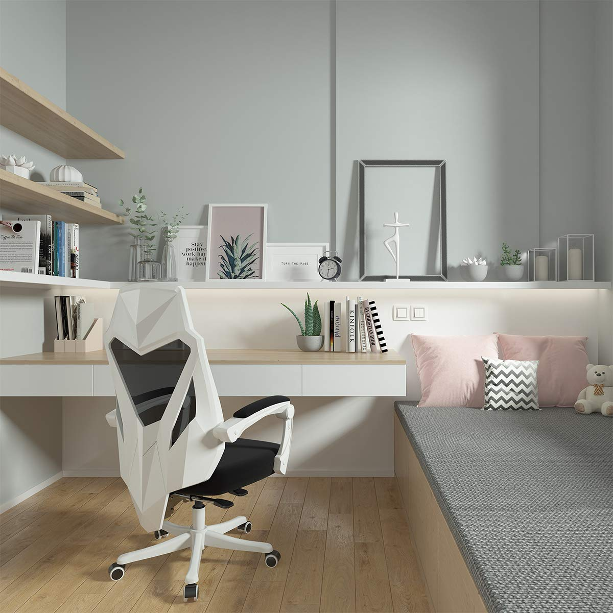 Hbada Office Computer Desk Chair - Ergonomic High-Back Swivel Task Gaming Chair - White by Hbada (Image #6)