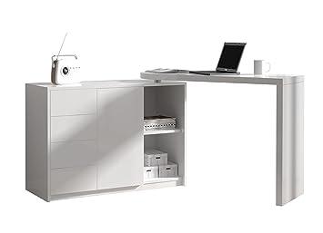 Bureau modulable avec rangement coloris blanc laqué: amazon.fr