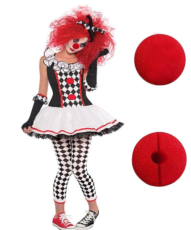GoLoveY Halloween Costume Clown Harlequin Joker Jester Droll Funny Cosplay Nose Wig
